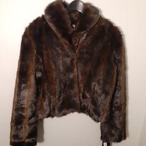 Black Rivet Brown Faux Fur Coat